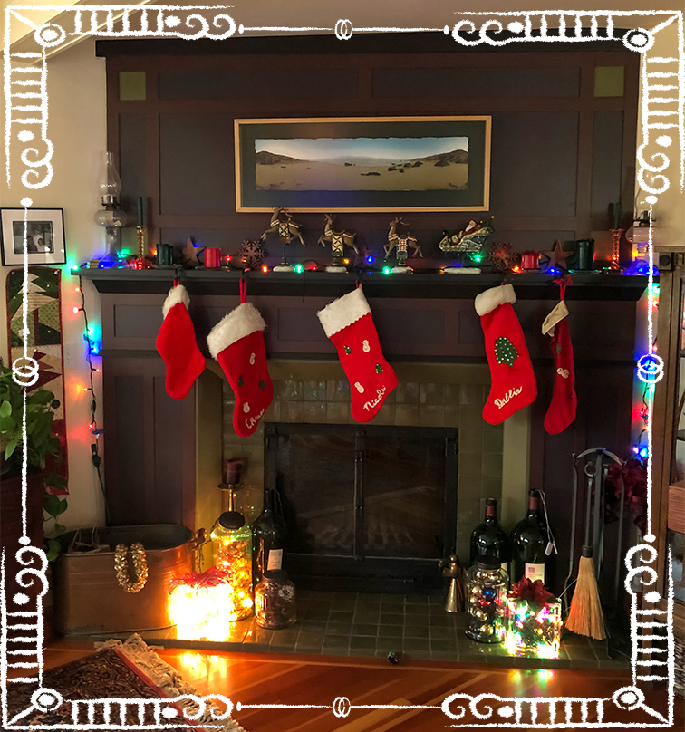Stockings hung over the mantle