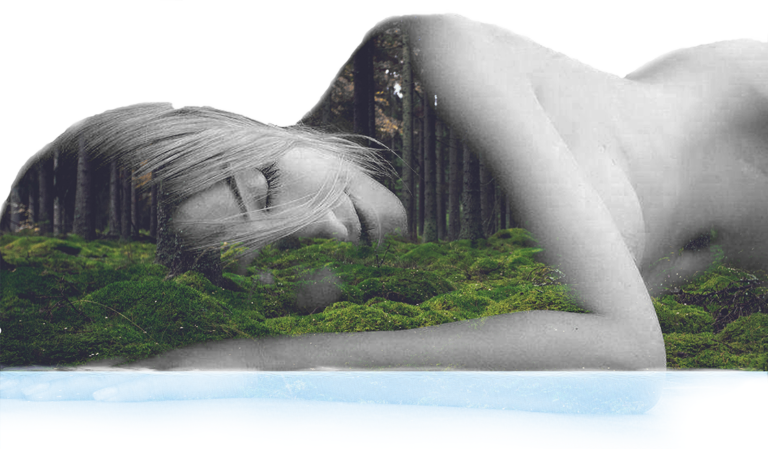 sleeping woman in the forest and lake