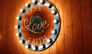 Hope, Love, Faith wall decor